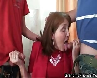 Bossy old bitch fucked by two employers Bossy old bitch fucked by two workers - Mature sex video - T