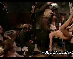 Slut Publicly Humiliated and Gangbanged