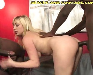 Blonde Cougar Takes Black Anal