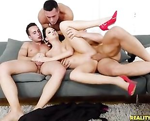 Smoking Italian babe takes on three rock hard cocks