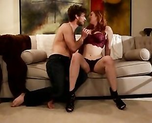 Sizzling redhead with big naturals takes intense pussy pounding