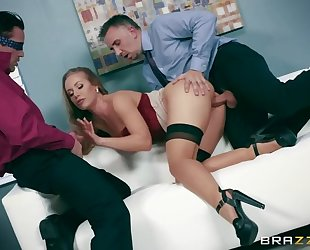 Sexy office slut gives an easy access to her tight holes