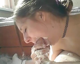 Crazy whipped cream deepthroating and ass fucking