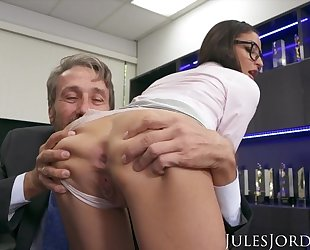 Young secretary gets double donged at her workplace