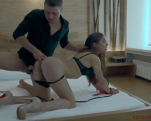 Gorgeous brunette with a killer body gets fucked in the ass