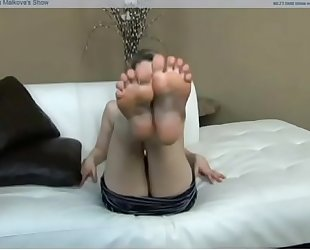 Hot blonde in black nylons fucks gives footjob and licks sperm off her feet